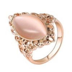 Antique Inspired Pink Opal Ring, Rose Gold & 925